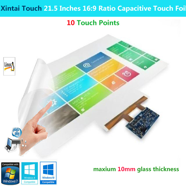 Xintai Touch 21.5 Inches 16:9 Ratio 10 Touch Points Interactive Capacitive Multi Touch Foil Film  Plug & Play