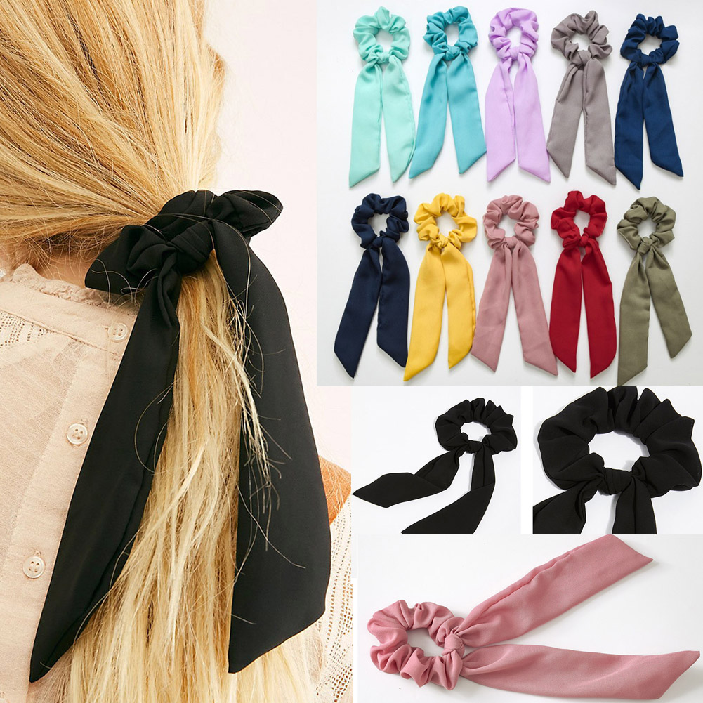 Women Candy Color Chiffon DIY Bow Streamers Hair Scrunchies Elastic Ribbon Hair Bands Hair Rope Ties For Girls Hair Accessories