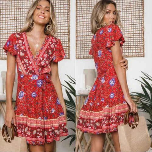 bab1944ed38fe 2019 Vintage Dress Women Holiday Boho Floral V-Neck Short Sleeve Mini Dress  Party Summer Holdiay Beach Sundress