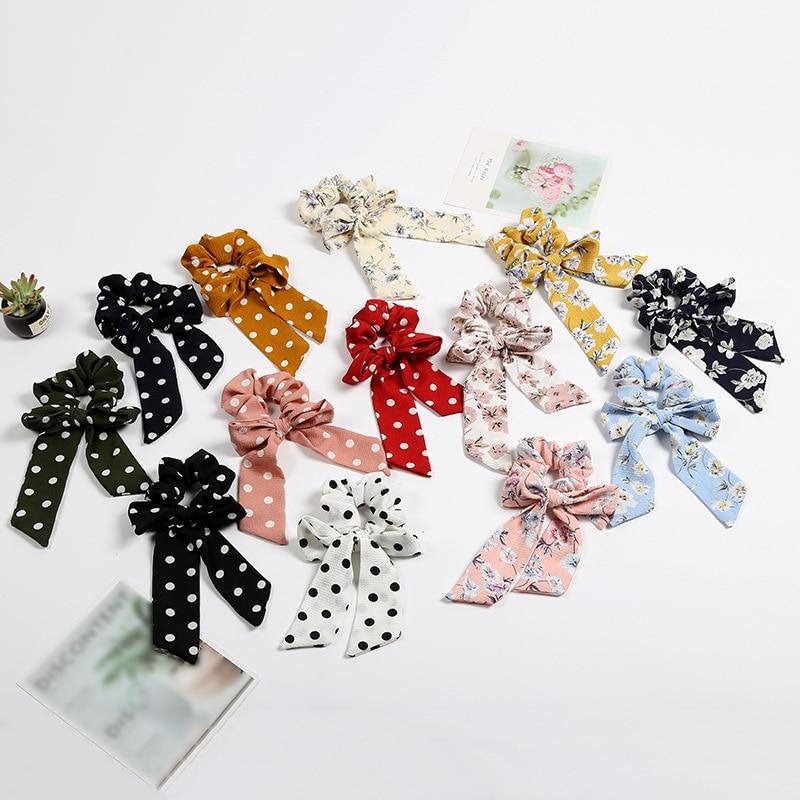 Fashion Hair Ring Ribbon Girl Hair Bands Scrunchies Horsetail Tie Solid   Headwear   Hair Accessories