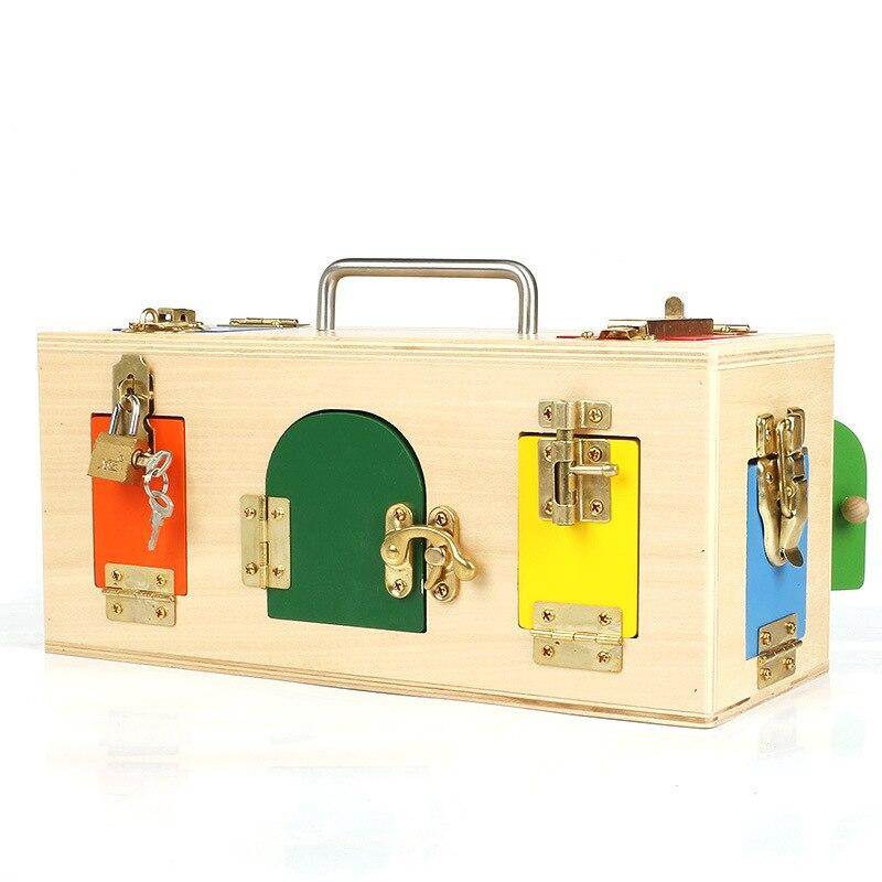 Hotsale Montessori jouets 3 ans serrure boîte Montessori matériaux sensoriels éducatifs en bois jouets pour enfants Montessori bébé jouet - 3