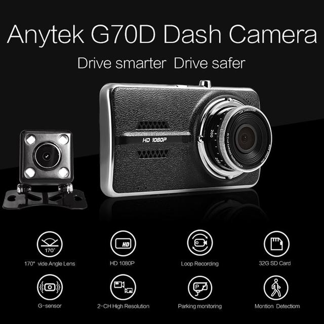 Anytek G70C 4'' 1080P Car DVR Camera Dual Lens Dash Cam G-sensor Dual Channel Video Recorder Dashcam with Rear View Camera