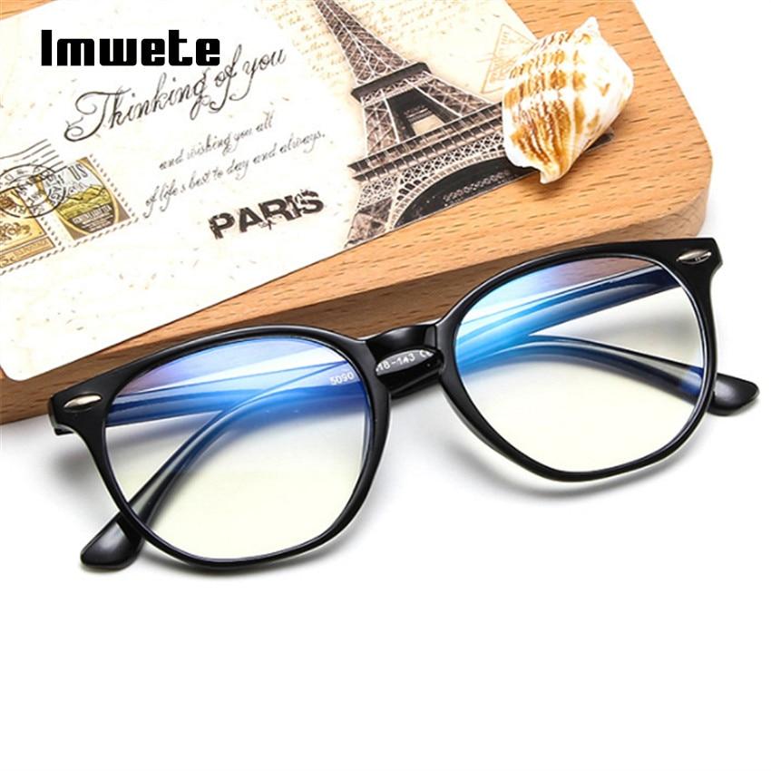 Imwete Anti Blue Light Computer Glasses Frame Men Women Transparent Gaming Glasses Frames Protection Eye Retro Spectacles Frames