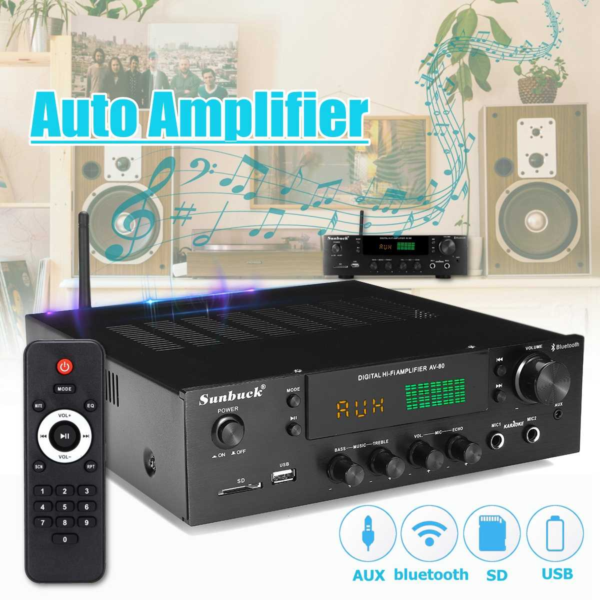 220V-240V 1388 2*200W bluetooth Stereo 2.0 Amplifier HiFi Power Remote Control USB SD Aux Mic Input Auto Amplifier
