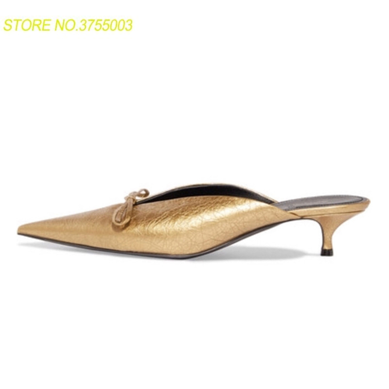 Fashion Design gold silver genuine leather slippers pointed toe kitten heel bowtie buttlerfly knot mules sandals women shoesFashion Design gold silver genuine leather slippers pointed toe kitten heel bowtie buttlerfly knot mules sandals women shoes