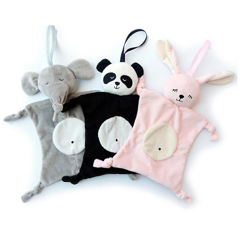 Babies Plush Soothing Toys Security Blanket Baby Toys Soothing Towel Cute Rabbit Bunny Elephant Panda Comforter Handkerchief
