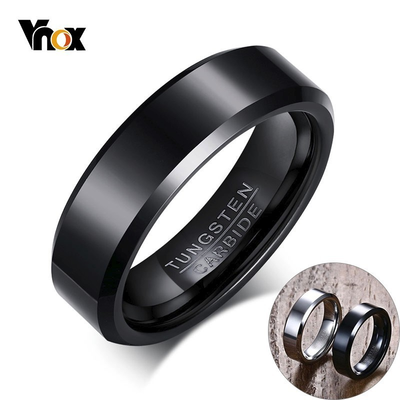 Vnox Men's Ring Jewelry Engagement-Ring Wedding Tungsten-Carbide 6mm for Man Wide-Anillos