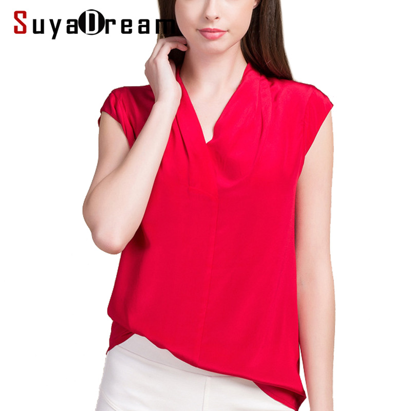 Women Silk   blouse   16mm 100% REAL silk crepe Sleeveless White   blouse     shirt   V neck Casual 2019 Spring Summer Top Red Black White