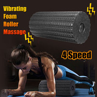 Yoga Foam Roller Pilates Block Fitness Yoga Fitness Roller Body Slimming Massage Stick Electric Rechargeable Vibration Massager