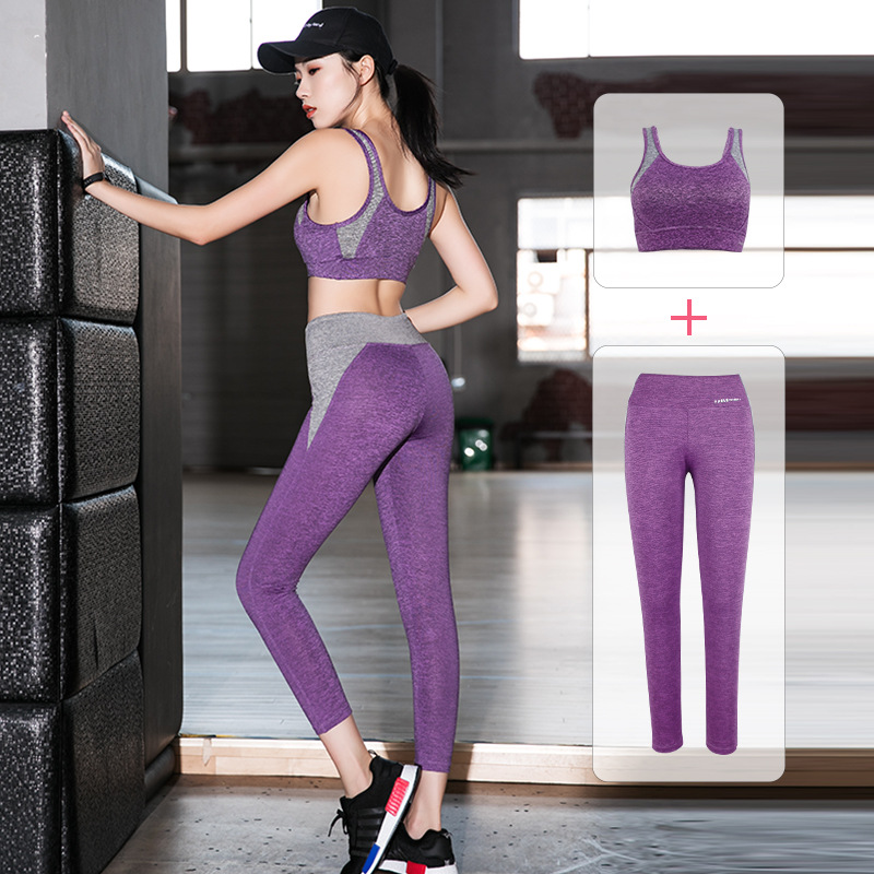 Ladies Yoga Set Horny Health Clothes Breathable Sport Swimsuit Padded Shockproof Bras+Pants Fitness center Set Sportswear Exercise Garments Xl