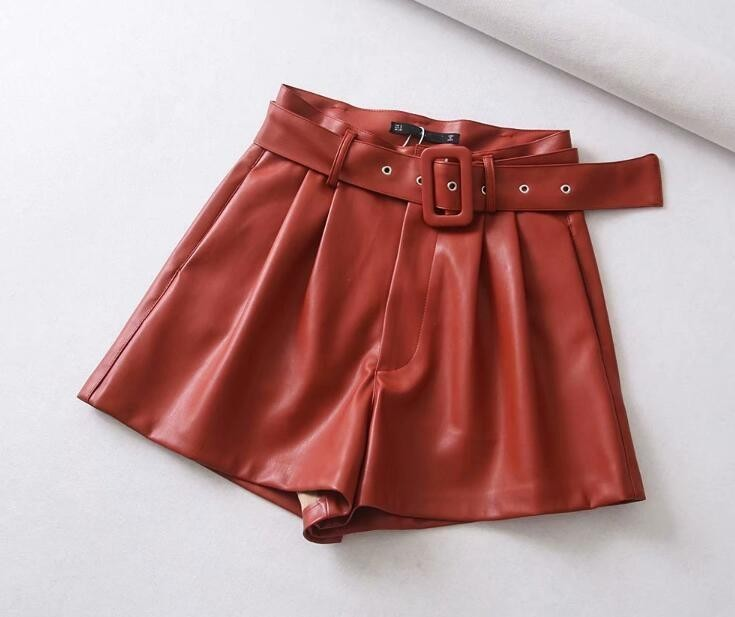 Women Black Orange Color PU Leather High Waist with Belt Wide Leg Faux Leather Shorts High