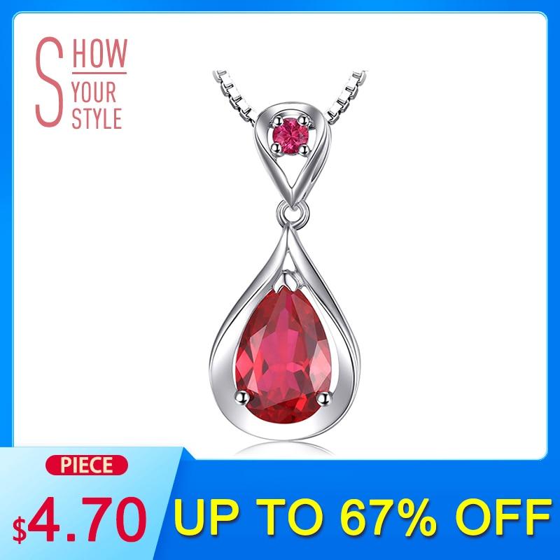 SmyckenPalace Water Drop 4ct Skapad Red Ruby Hänge Årsdag 925 Sterling Silver För Kvinnor Smycken Utan En Kedja