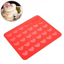 Reusable Silicone Macaron Cake Mold Heart Shaped Pastry Oven Baking Mould Sheet Mat DIY Kitchen Tools