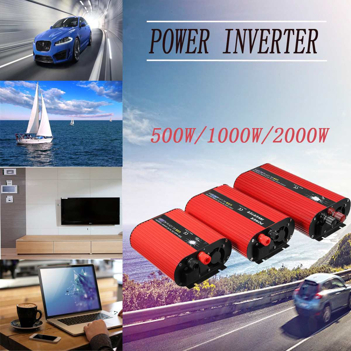 500W 1000W 2000W Car Power Inverters Voltage Transformer 12V 220V Charger Cigarette Lighter Plug Power Converter Solar Ada car inverter 12v 220v power inverters voltage transformer converter 12 220 1000w charger on display solar adapter 12v 220v dy104