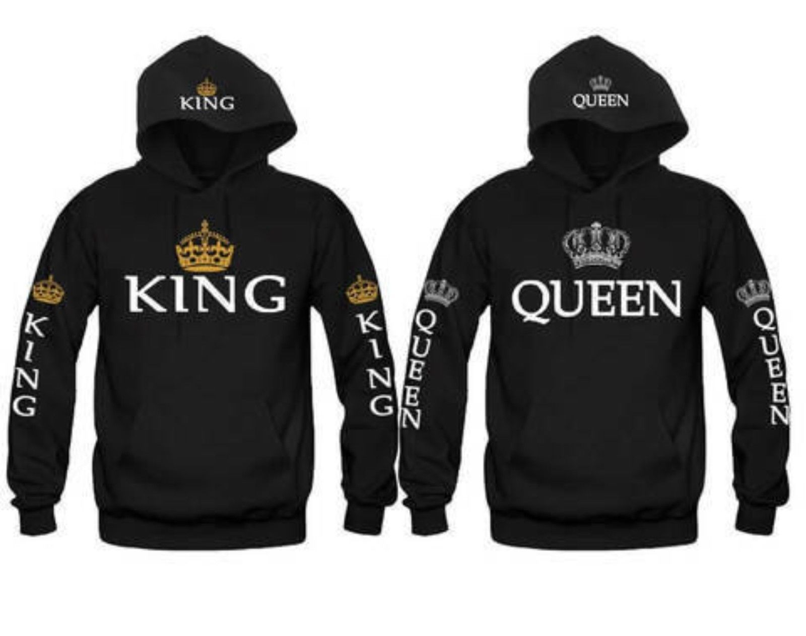 Fashion UNISEX Hoodie KING/&QUEEN Hoodie Letter Print Casual Couple Tracksuit New