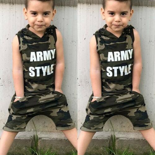 Children Kids Camo Army Boys Comforter Toddler Casual Clothing Fashion Set