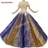 Backlakegirls Luxury New Sequin Boat Neck Ball Gown Sleeveless Prom Dress Floor length Off The Shoulder Vintage Evening Dresse