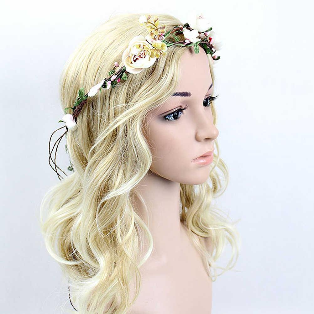 Цветочная гирлянда ручной работы Свадебная вечеринка розы резинки для волос для невесты Свадебные аксессуары