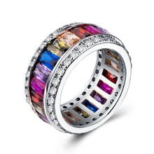 Huitan Vintage Band Ring with Colorful Cubic Zirconia Invisible Setting Luxury Jewelry Best Valentines Gift Fashion Couple Rings