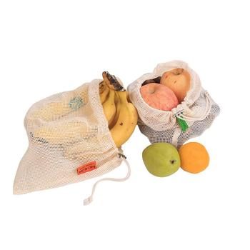 Multi-purpose Vegetables Mesh Storage Bag Beach Reusable Cotton Fabric Grocery Fruit Toys With Drawstring Three Sizes