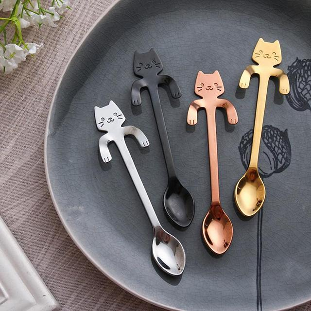 Cute Spoon 304 Stainless Steel Long Handle Coffee Spoons Flatware Hanging Spoon With Cartoon Cat Shaped