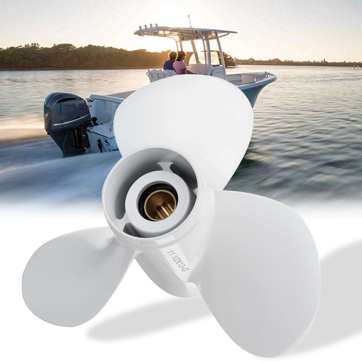 Boat Outboard Propeller 663-45974-02-98 For Yamaha 25-60HP  11 1/2 X 13 Aluminum 13 Spline Tooths R Rotation 3 Blades White