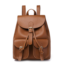 Vintage Ladies Leather Backpack Drawstring Pleated Backpack, Yellow Brown цена 2017