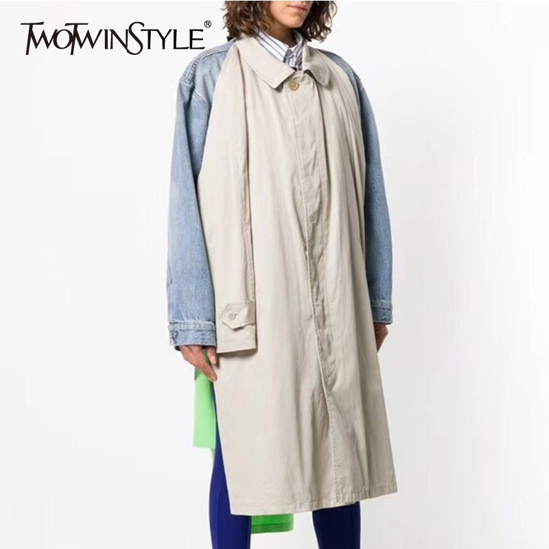 TWOTWINSTYLE Patchwork Denim   Trench   Coat Women Long Sleeve Asymmetrical Windbreaker Female 2018 Autumn Fashion Casual Big Sizes