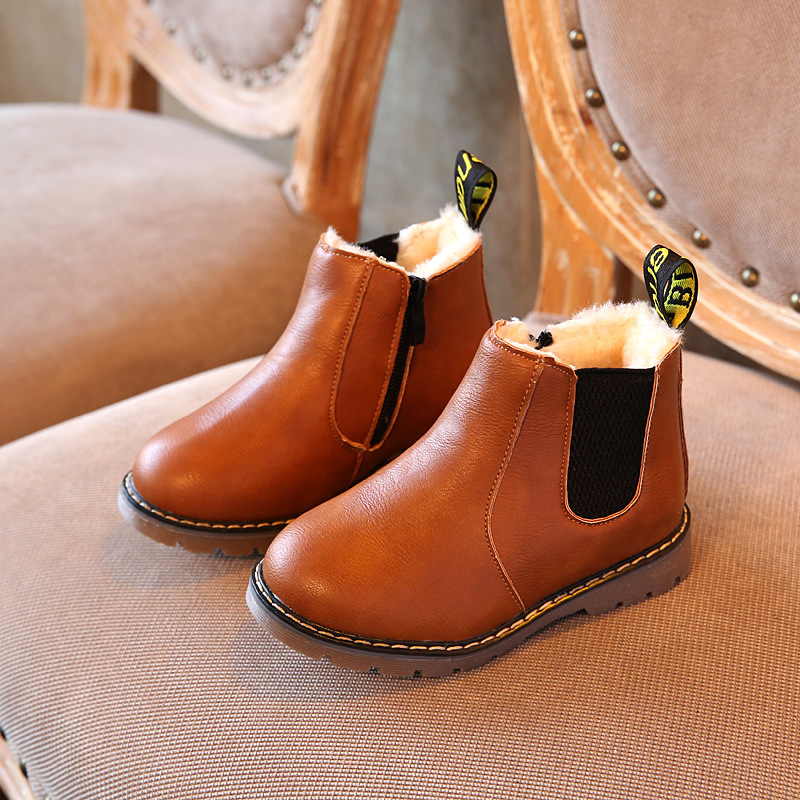 2019 Autumn Child Riding Boots Winter Warm Fur Leather Snow Boots Fashion Boys Girls Casual Ankle Rubber Boots Cotton Shoes