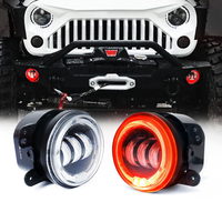 2PCS 30W Round LED Passing Fog Lights 4 Inch Turn Signal Light LED Fog Projector Car Light with RED Halo Angel Ring Wrangler