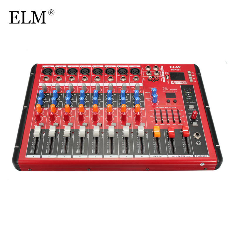 ELM Karaoke Audio Amplifier Mixer Professional bluetooth 8 Channel Microphone Sound Mixing Console With USB 48V