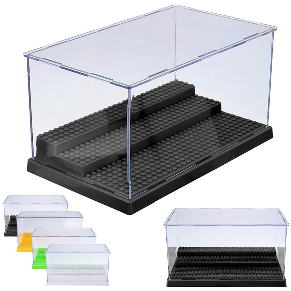 1pc 3 Steps Display Case/Box Dustproof ShowCase Gray Base For Le goings Blocks Acrylic Plastic Display Box Case 25.5X15.5X13.8cm Головная гарнитура