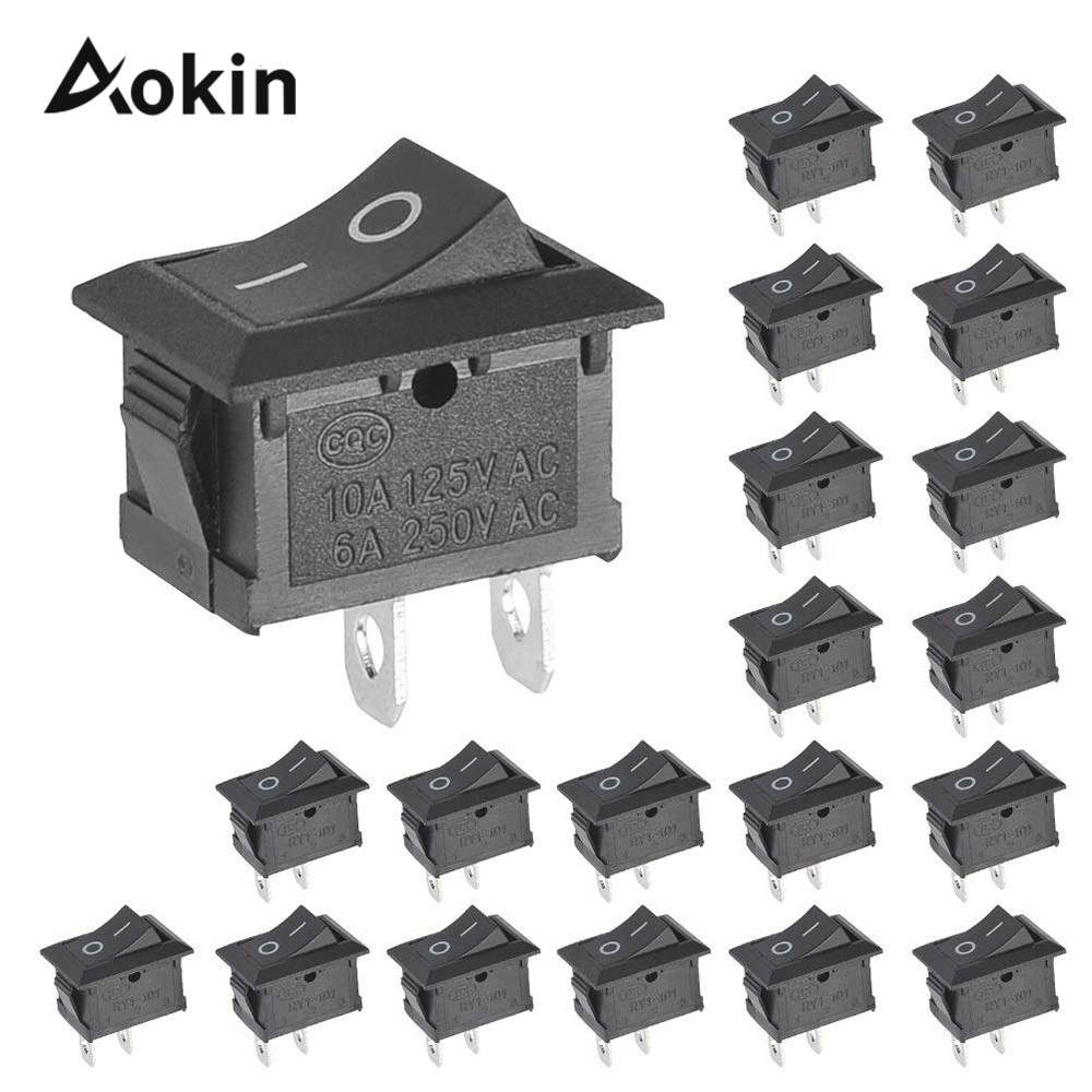 10 Pcs Switch On-off Kcd1 15*21mm 2pin Ship Type Switch <font><b>6a</b></font> <font><b>250v</b></font> 10a 125v 15x21 Rocker Switch Power Switch Black New image