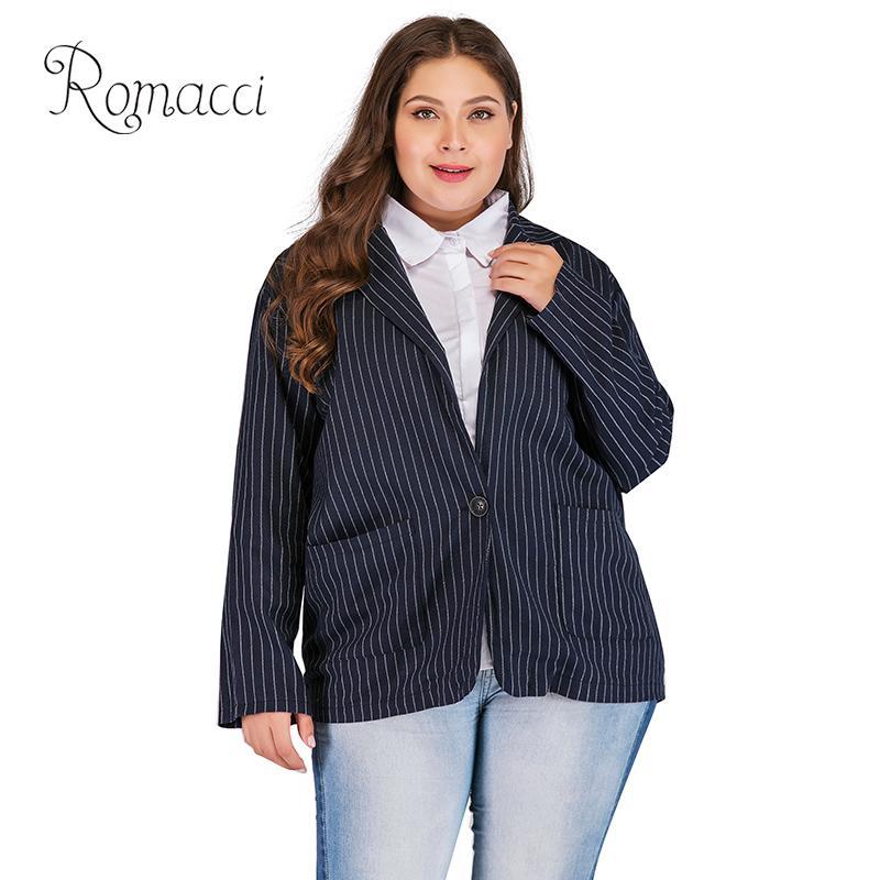 454d5b38aabdd Romacci Stripe Blazer feminino Fashion Women Plus Size Suit Jacket Blazers  Long Sleeve OL Ladies Casual Coat Outerwear Dark Blue