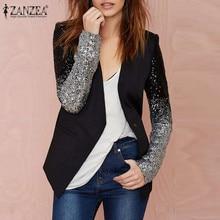 ZANZEA 2019 для женщин тонкая куртка пальто с длинным рукавом лацканами лоскутное Bling серебристый, черный блесток Элегантный работы Пиджаки для