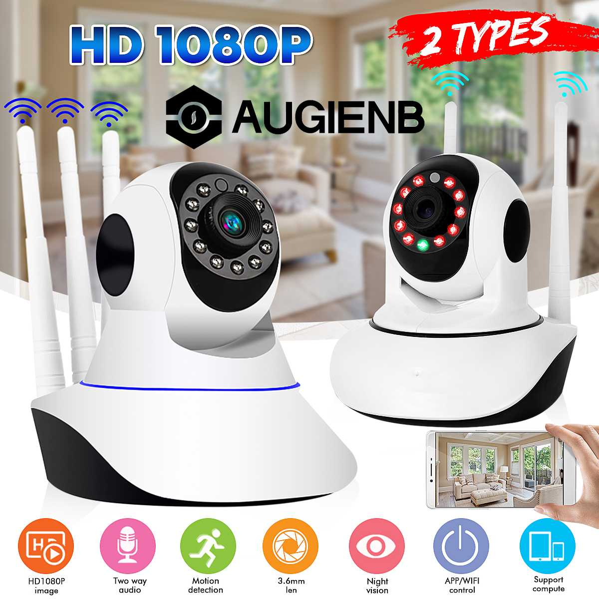 Security IP Camera 1080P Wireless IP Surveillance Camera 200W 98ft Night Vision Bullet Baby Monitor Two-Way Audio WaterproofSecurity IP Camera 1080P Wireless IP Surveillance Camera 200W 98ft Night Vision Bullet Baby Monitor Two-Way Audio Waterproof