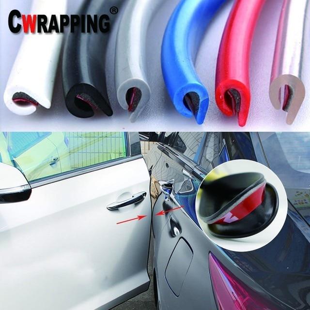 5 m/lote Auto Universal Puerta de coche borde de goma Protector de rayones moldura tiras de protección de sellado Anti-rub DIY Coche -estilo