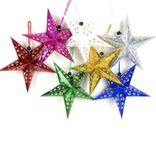 1pc 7colors Hollow Laser Christmas Paper Star Lantern Happy New Year Decoration Merry Xmas Ornament Pendent Home Tree Decor