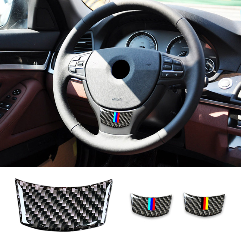 Image 2 - For BMW 5 Series E60 2004   2006 2007 2008 2009 2010 520li 523li 525li Carbon Fiber Car Steering Wheel Sticker M Stripe Cover-in Interior Mouldings from Automobiles & Motorcycles