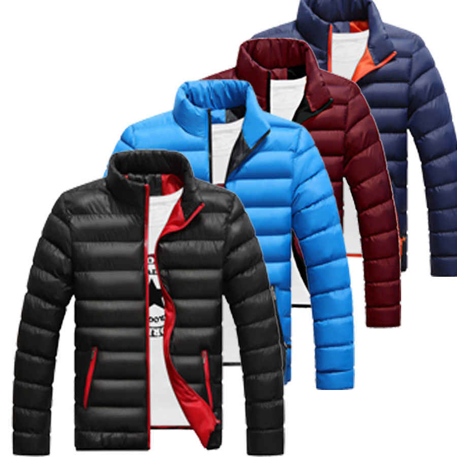 冬のジャケットの男性 2018 ファッションスタンド襟男性パーカージャケットメンズ固体厚手のジャケットとコートの男冬パーカー M-6XL
