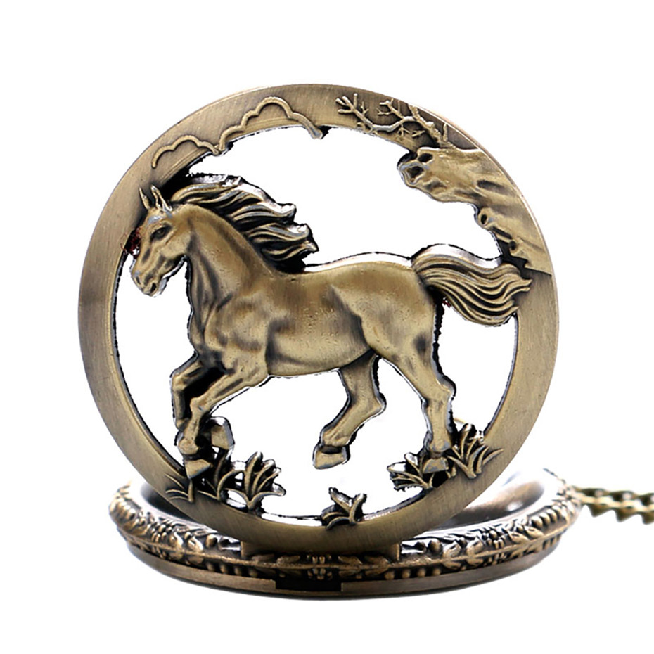 Vintage Watch Horse Design Quartz Pocket Watches Retro Cool Men Women Pendant Pocket Clock Hot Sale Item With Chain Dropshipping