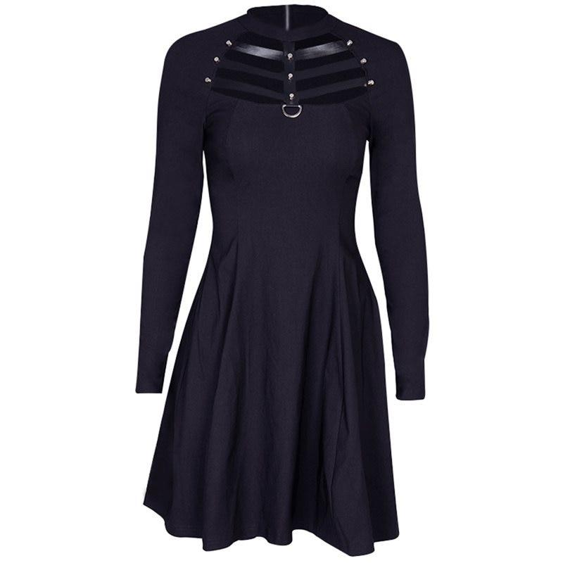 5f9621cb8f9 Rosetic для женщин Мини платья Повседневное черная дыра Готический шик  Весна плотная полые Алина женский гот