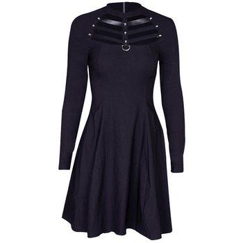 1e1392e62 Rosetic Mini mujeres vestidos casuales agujero negro gótico Chic primavera  simple hueco Aline mujer gótica elegante Punk moda vestido de fiesta