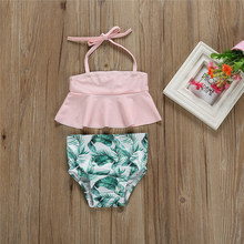 Kids Swimwear Toddler Tankini Baby Girl Bathing Suit Halter Top+Bottoms 2pcs Leaves Swimsuit Children Beachwear Swimming Costume