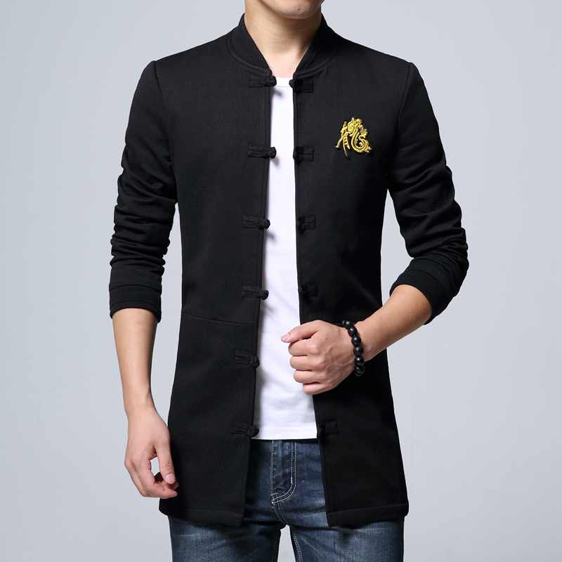 Chinese Style Long Sleeve Jacket mens Large Size M-5XL Embroidered Coat men Autumn New Men Jacket