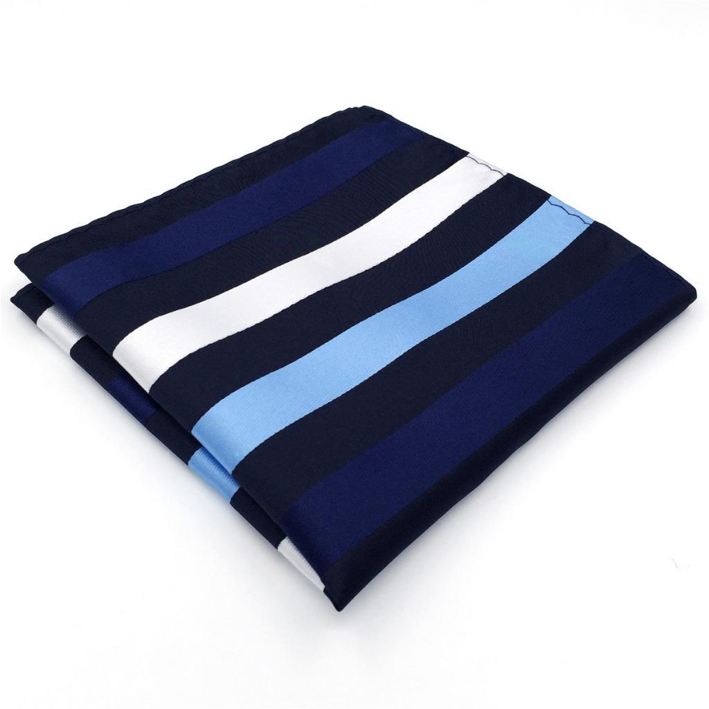 BH27 Fashion Mens Pocket Square Blue Multicolor Striped Silk Classic Handkerchief Dress Hanky
