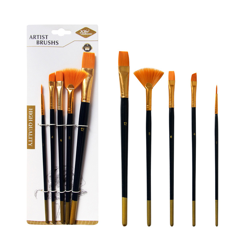 5Pcs/Set Differnt Shape Nylon Hair Painting Brush Blue Multifunction Professional Drawing Brushes Pen School Office Art Supplies