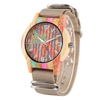 Creative coloré rayure bambou bois montres unisexe montre en Nylon bande en bois montre hommes femmes 2019 nouvelle horloge décontractée cadeaux