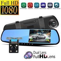 Заднего вида автомобиля зеркало заднего вида автомобиля видео с двойной Камера s Видеорегистраторы для автомобилей 4,3''Full HD 1080P Двойной объе...