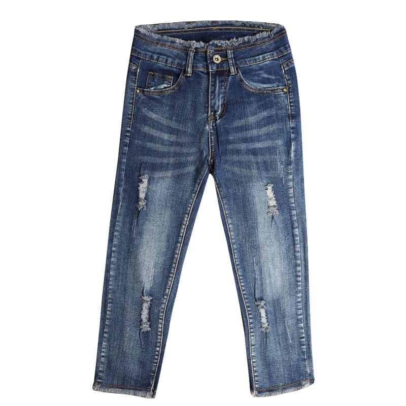 2019 Summer Fashion Pencil Denim Pants Women High Waist Ripped Hole Jeans Female Blue Casual Strech Skinny Pants Capris